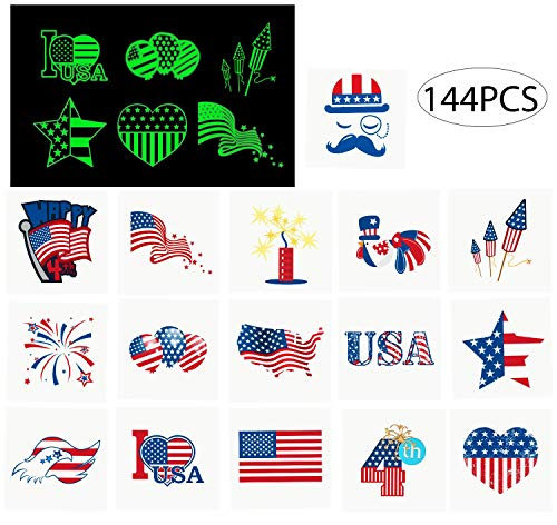 jollylife 4th/Fourth of July Tattoos - Glow in The Dark- Patriotic Party Decorations Favors Supplies for $<!--$9.99-->