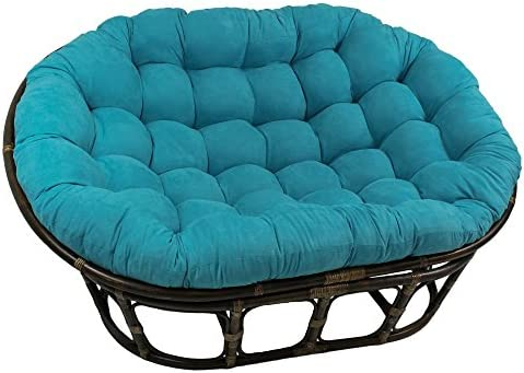 International Caravan Furniture Piece 63×45-Inch Double Papasan with Micro Suede Cushion
