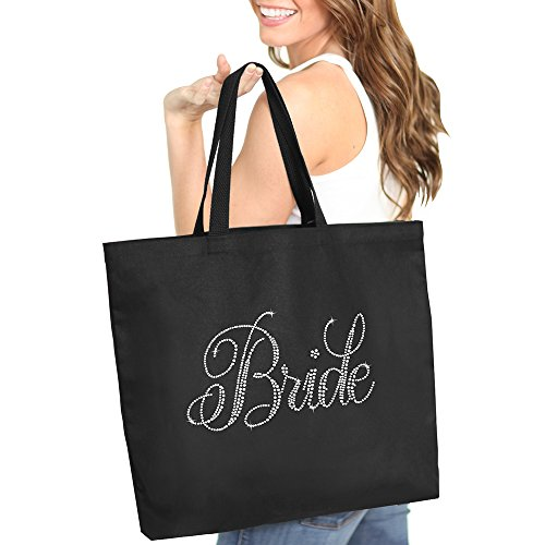 Flirty Rhinestone Bride Tote Bag - Bachelorette Party Accessories & Gifts Black