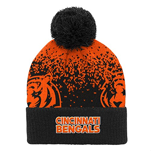 Outerstuff NFL Cincinnati Bengals Youth Boys Gradient Jacquard Cuffed Knit Hat Black, Youth One Size