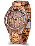 Vintage Style Wood Watches Men Engraved Natural Zebra Wood