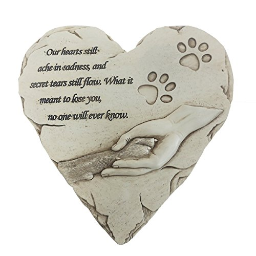 JHB New York Dog Memorial Stone, Hand-Printed Heart-Shaped Personalized Loss of Pet Gifts Dog with Sympathy Poem and Paw in Hand Design, (White) (Dog Cast Stone)