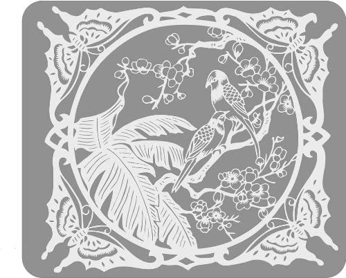 White Etched Design with 3 Birds Butterflies – Vinyl Stained Glass Film, Static Cling Window Decal