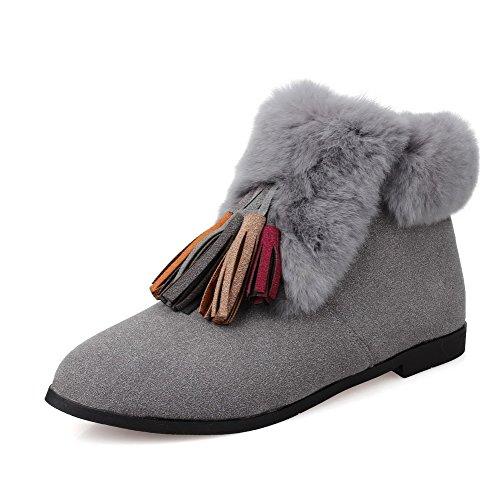 AmoonyFashion Womens Pointed-Toe Closed-Toe Low-Heels Boots Gray hZg1QiQ0
