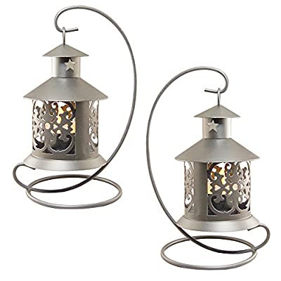 LumaBase 91102 2 Count Metal Tabletop Lanterns, Silver