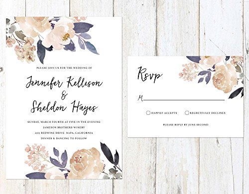 Lavender and Champagne Wedding Invitation, Lavender and Peach Wedding Invitation, Rustic Wedding Invitation by Alexa Nelson Prints