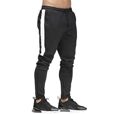82e5ffd70ba37e Mechaneer Men's Gym Joggers Fitted Workout Pants Slim Fit Sweatpants Zipper  Pocket Black X-Small