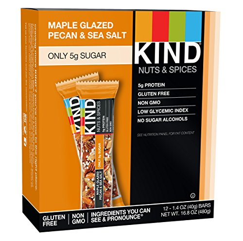 KIND Nuts & Spices, Maple Glazed Pecan & Sea Salt, 12-Count (Honey Glazed Pecans)