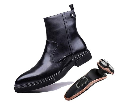 bbc39c77220 Botas Altas De Cuero para Hombre Rojo Vino Negro Puntiagudo Cremallera  Transpirable Botas Chelsea Martin  Amazon.es  Zapatos y complementos