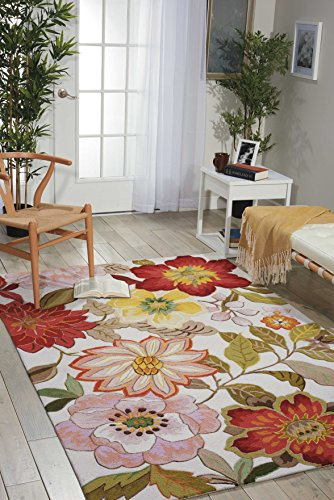 Acrylic Contemporary Rug (Nourison Fantasy (FA18) Ivory Rectangle Area Rug, 5-Feet by 7-Feet 6-Inches (5' x 7'6