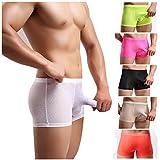 Casualfashion 6 Colors 4 Sizes Men's Lace Boxer Briefs Elepant Nose Penis Pouch Underwear (XXL (34.12-36.74inch), 4Pcs-Mix Color)