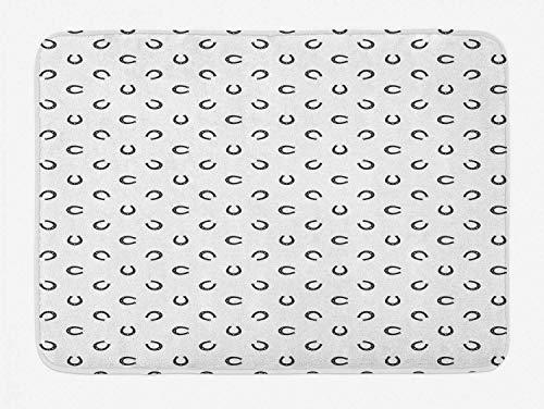 fox-kyt Horseshoe Bath Mat, Repeated Pattern Lucky Charm Talisman Traditional Belief Geometric Design, Plush Bathroom Decor Mat with Non Slip Backing, 16