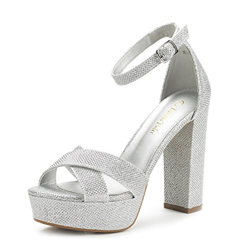 Dream Pairs Women's Hi-Go Silver Glitter High Heel Platform Pump Sandals - 7 M US Glitter High Heel Platform Shoes