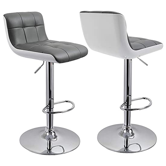 Duhome 2 Pcs 2-Tone Grey and White Contemporary Stylish Bar Stools Counter Height Adjustable Chairs Synthetic Leather Seat
