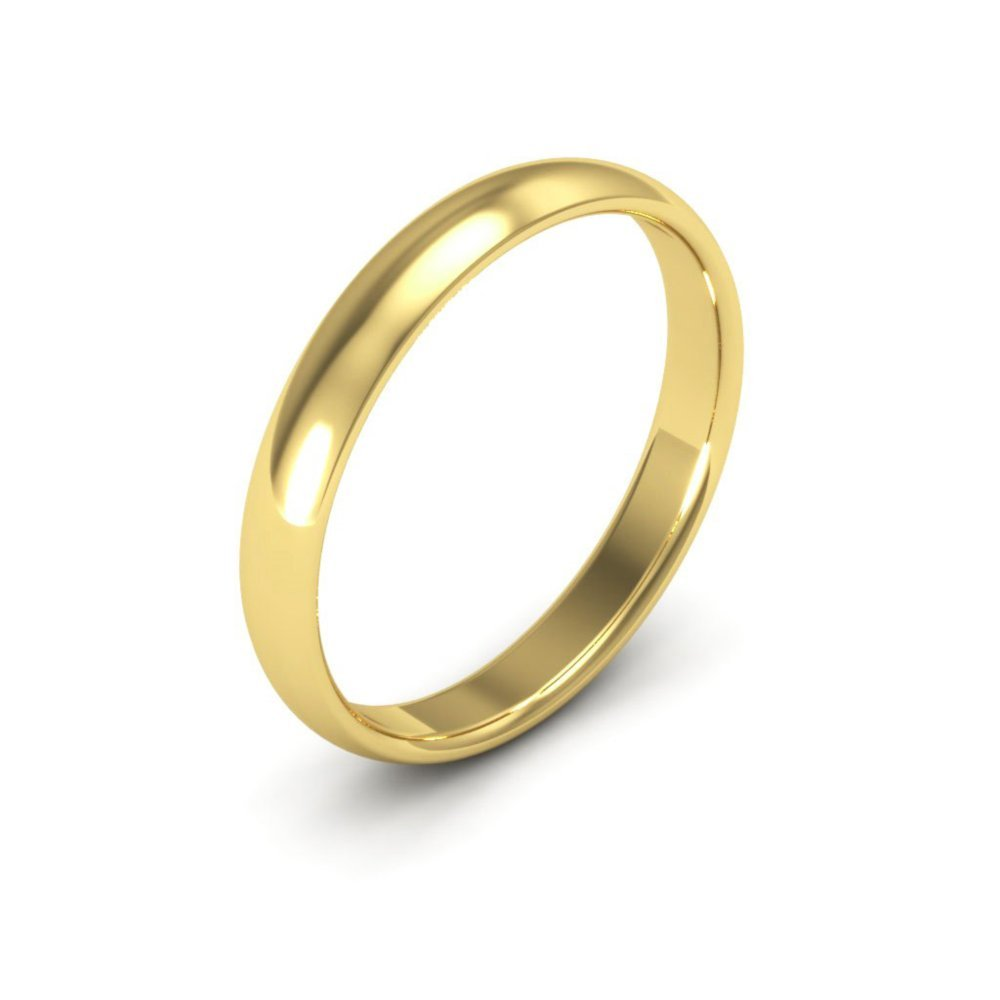 10K Yellow Gold mens and womens plain wedding bands 3mm comfort-fit light