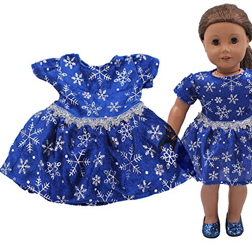 Lywey Christmas Snowflake Dress for 18 Inch American Girl Doll Accessory Girl's Toy