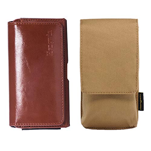 2 Pack Hengwin Holster Case Compatible for iPhone 8 7 6 Belt Clip Nylon Pouch PU Leather Waist Bag with Magnetic Closure Belt Loop Carrying Cases Travel Purse for Men