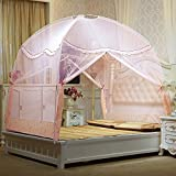 XRXY Mosquito Net Simple Printing Lace Stitching Mosquito Net/Yurt Bedroom Children Fully Closed Safe Mosquito Net/Encryption Large Space Anti-Mosquito Cover (6 Colors Available)