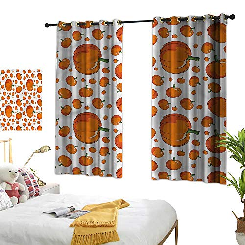 (Warm Family Pumpkin Light Luxury high-end Curtains Halloween Festival Symbol Set of Two Panels 72