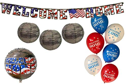 Welcome Home Military Party Decorations: Bundle Includes Welcome Home Mylar Balloon, Welcome Home Banner, Camo Paper Lanterns, and Welcome Home Latex Balloons in an American Heroes Design -