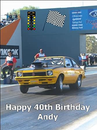 A4 Drag Racing Muscle Car Birthday Cake Toppers Personalised On