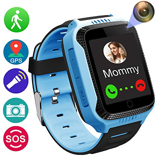 Smart Watch for Girls Boys - GPS Locator Pedometer Fitness Tracker Touch Camera Games Light Touch Anti Lost Alarm Clock Smart Watch Bracelet Compatible with iOS Android Holiday Birthday Gift (Blue)