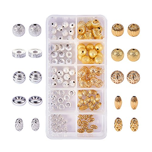 cs Mixed Style & Color Brass Spacer Beads Loose Beads for DIY Jewelry Making Findings, Include Corrugated Beads, Stardust Beads, Flat Round Beads, Filigree Beads, 8~10.5x3~10mm ()