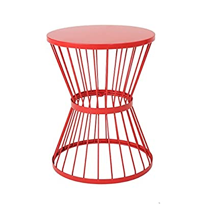 Fern Outdoor 16 Inch Matte Red Iron Side Table