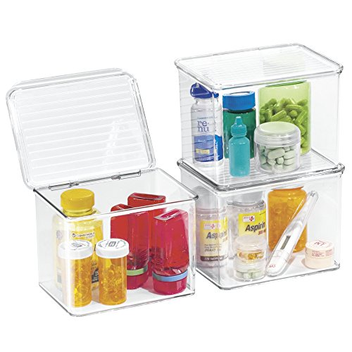 durable service mDesign Storage Box Organizer for Vitamins, Medicine, Medical, Dental Supplies - Hinged Lid, Small, Clear