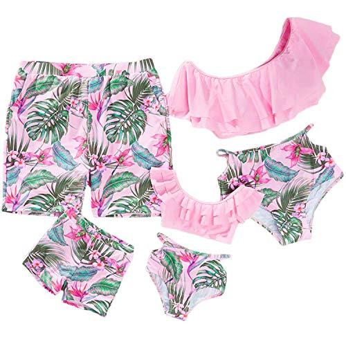 2019 Family Matching Swimwear Mommy and Me Swimsuits Two Piece Printed Ruffles Bathing Suits Bikini Set Cute Pink]()