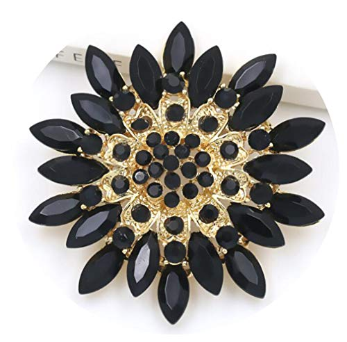 DARLING HER Beautiful Assorted Colors Coffee/Purple/Red/Clear/Black Crystal Daisy Flower Brooch Pins for Women Black