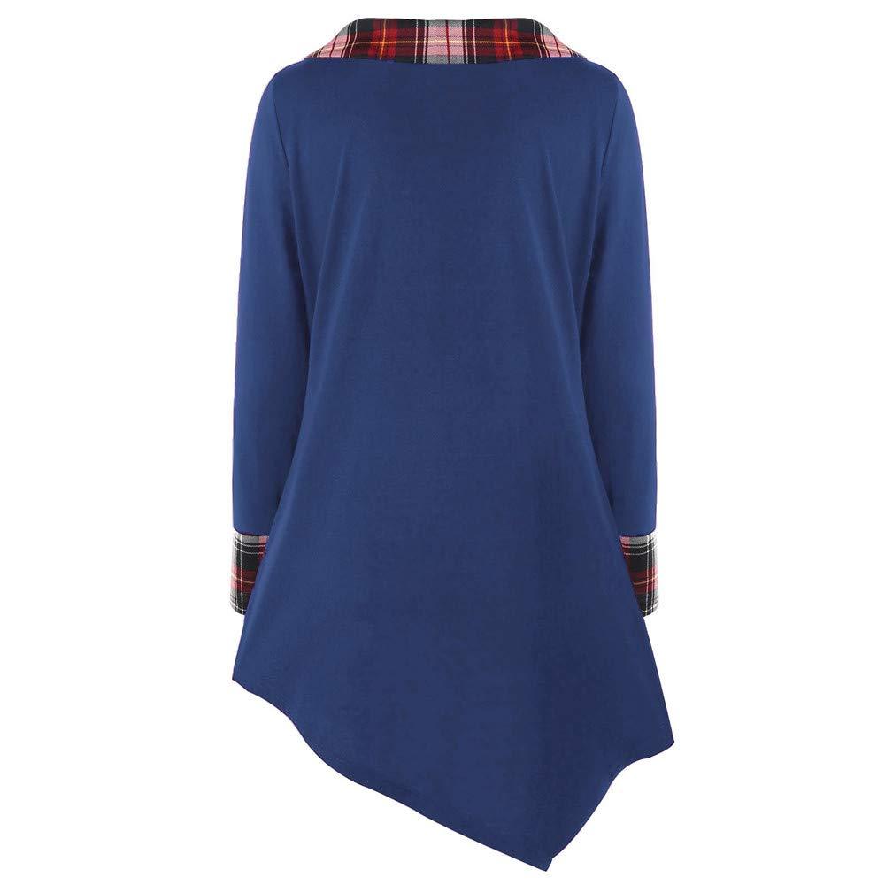 Manadlian Camisas Mujer, Manga Larga para Mujer Talla Grande Blusa a Cuadros Camiseta asimétrica de celosía Mode Tops: Amazon.es: Ropa y accesorios
