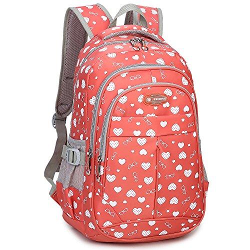c70c712a58d9 Goldwheat Heart Print School Backpack Bookbag for Girls Kids Elementary  School Bag(Orange) - Buy Online in Oman.