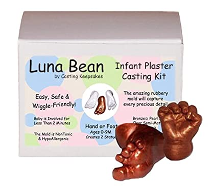 Luna Bean Infant Plaster Statue Casting Keepsake Kit - Cast Baby Hand & Foot (Pearl) Casting Keepsakes