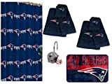 NFL New England Patriots 20 Piece Bath Ensemble: Set Includes 1 Shower Curtain, 12 Shower Hooks, 2 Bath Towels, 2 Hand Towels, 2 Finger-tip Towels 1 Bath Mat.
