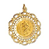 Genuine Solid 14K Yellow Gold Round Saint Christopher Medal in Filigree Frame (3/4'')