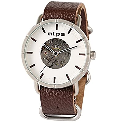 ALPS Mens Watch Luxury Skeleton Mechanical Automatic Watch Genuine Leather Watch (Brown )