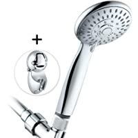 High Pressure Handheld Shower Head, 5 Settings Shower Head with Adjustable Height Suction Cup Bracket, 60 Inches Hose and Flow Regulator, Fog Surface Design