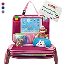 Kids Travel Tray - Portable Waterproof Car Backseat Activity Snack Lap Tray Hard Child Airplane Seat Play Organizer with iPad Tablet Holder w Dry Erase Board for Toddler Baby Infant Children