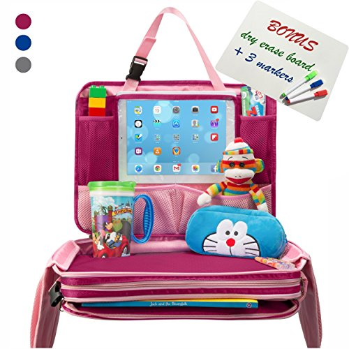 Kids Travel Tray - Portable Waterproof Car Backseat Activity Snack Lap Tray Hard Child Airplane Seat Play Organizer with iPad Tablet Holder w Dry Erase Board for Toddler Baby Infant Children ()