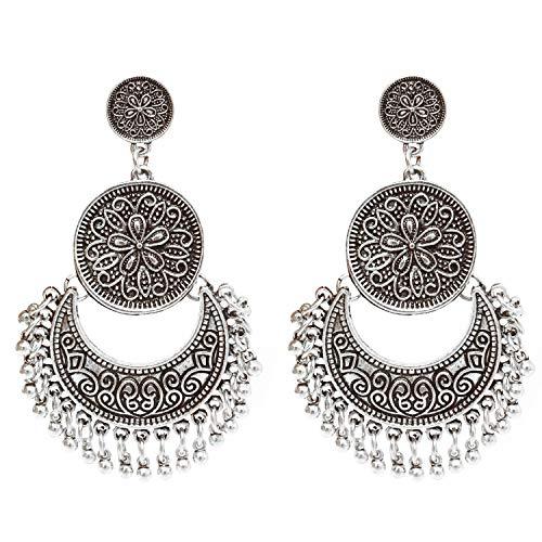 Honbay Bohemian Fashion Earrings National Style Retro Earrings Gypsy Dangle Earrings (Vintage Silver)