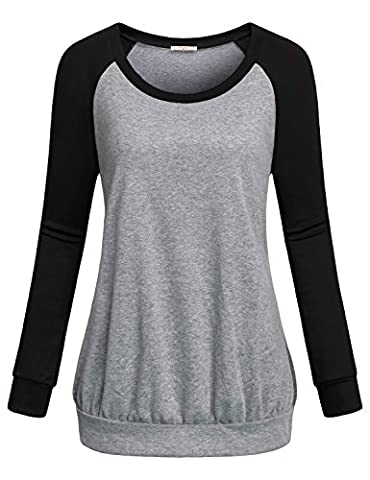 Tunic Sweater,Cestyle Womens Activewear Girls Long Sleeve Crew Neck Color Block Loose Fit Casual Pullover Sweatshirts Knit Tee Blouse Shirt Tops Black (Hers And His Crewneck)