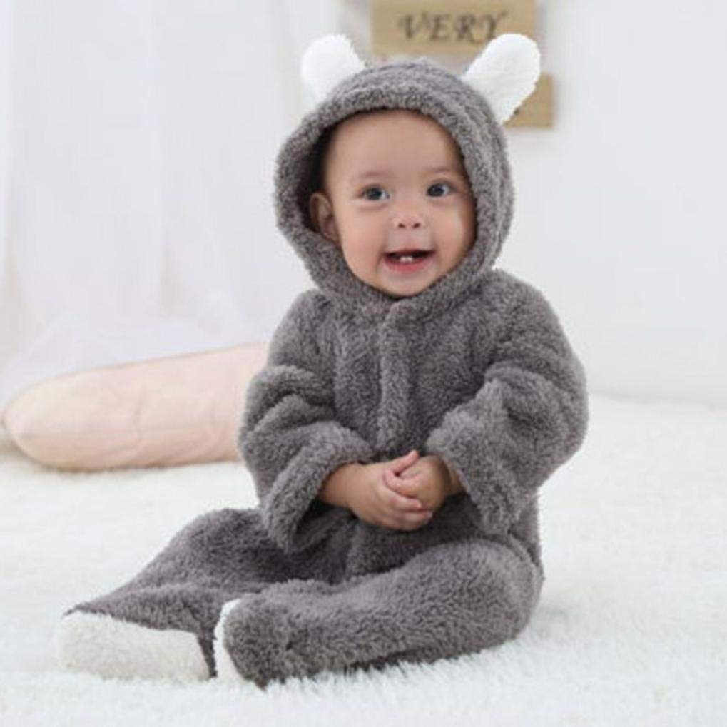 kaiCran Baby Romper,Newborn Baby Boys Girls Fall Winter Warm Bodysuit Long Sleeve Hooded Romper Jumpsuit Outfits Clothes