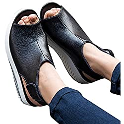 Chuanqi Women's Fashion Shoes Summer Open Toes Sandals Leather Flat Shoes Casual Shoes