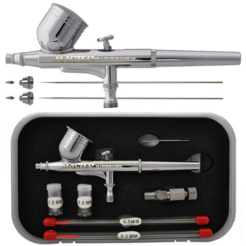 (Master Performance G222 Pro Set Master Airbrush with 3 Nozzle Sets (0.2, 0.3 & 0.5mm Needles, Fluid Tips and Air Caps) - Dual-Action Gravity Feed Airbrush with 1/3 oz. Cup)