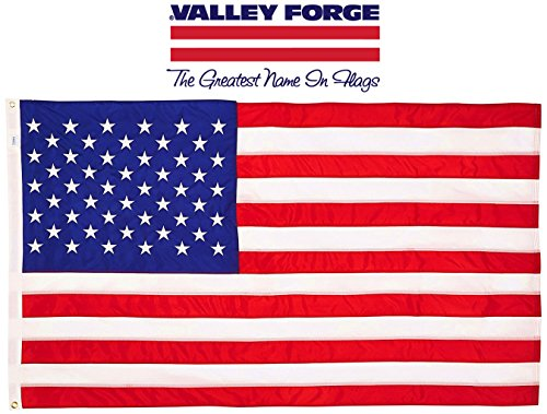Valley Forge, American Flag, Cotton, 3' x 5', 100% Made in USA, Sewn Stripes, Embroirdered Stars, Heavy-Duty Brass - Flags Valley Forge American