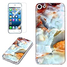 for iPod Touch 5/6 Marble Case and Screen Protector,Unique Pattern Design Skin Ultra Thin Slim Fit Soft Gel Silicone Case,QFFUN Shockproof Anti-Scratch Protective Back Cover - Fire Cloud