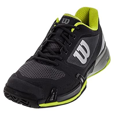 fefc1ec46fe Amazon.com  Wilson-Men`s Rush Pro 2.5 Tennis Shoes Ebony and  Monument-(097512280037)  Shoes
