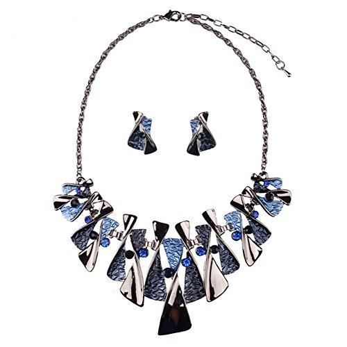Bao Style Fashion jewelry Bridal Diamond Necklace Earrings Set(Blue)