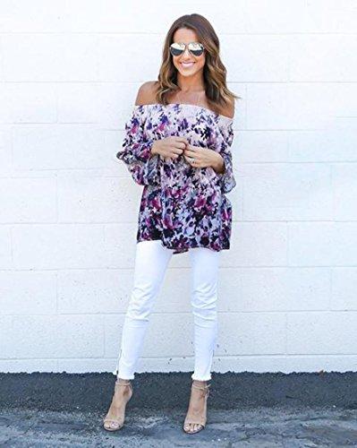 FEITONG impresión de las mujeres Blusa del hombro Camisa de manga larga Casual Tops Púrpura